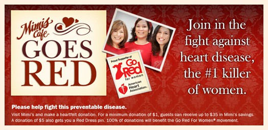 Mimi's Cafe Goes Red plus $25 gift card giveaway - Popsicle Blog