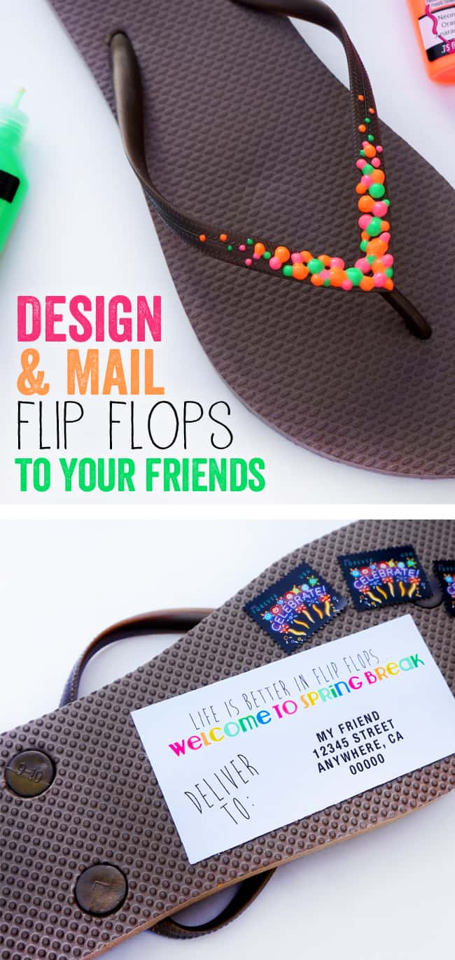 Fun DIY Flip Flops to Make and Mail #TulipNeon