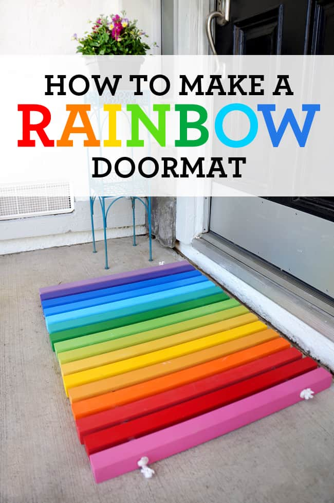 DIY Rainbow Doormat instructions - Sandytoesandpopsicles.com  #DIY #rainbow #doormat