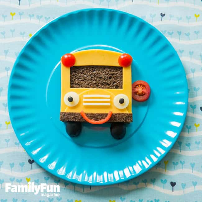 Fun After School Snack Ideas - Cheese Sandwich Bus