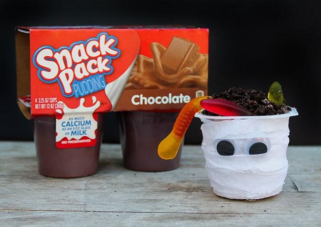 Snack Pack Pudding Halloween Mummies Recipe