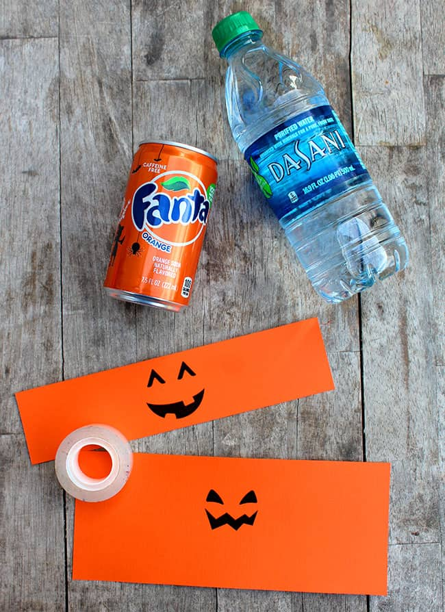Pumpkin water bottle and mini soda printable. #free #printable #spookysnacks