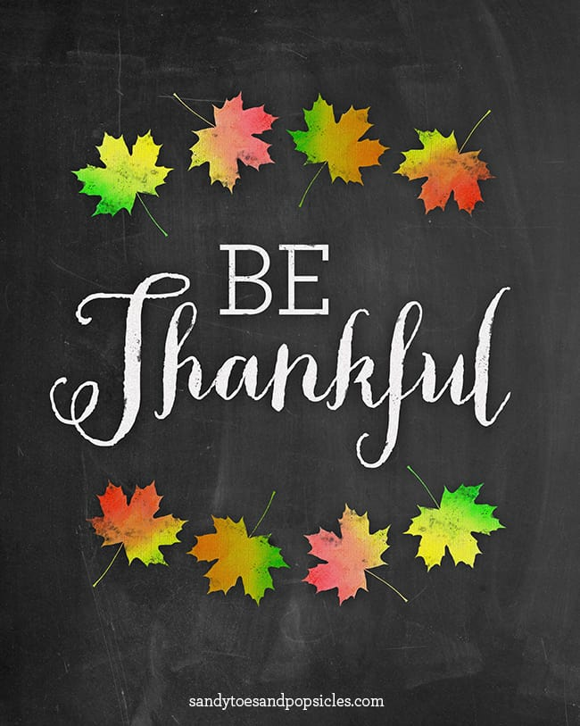 Free Be Thankful Printable #thanksgiving #thanksful #fall