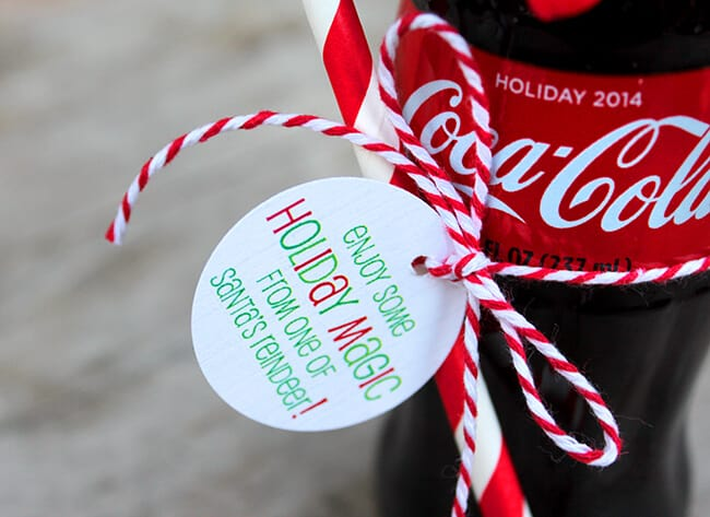 Coke Bottle Reindeer tutorial free printable