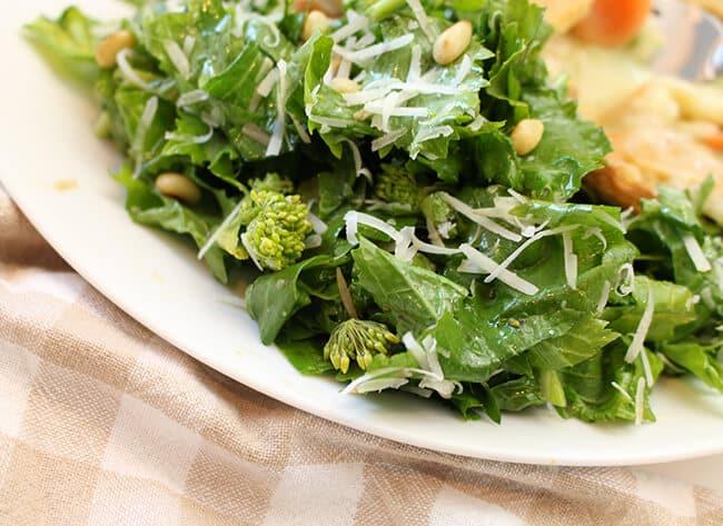 Healthy Rapini Parmesan Pine Nut Salad
