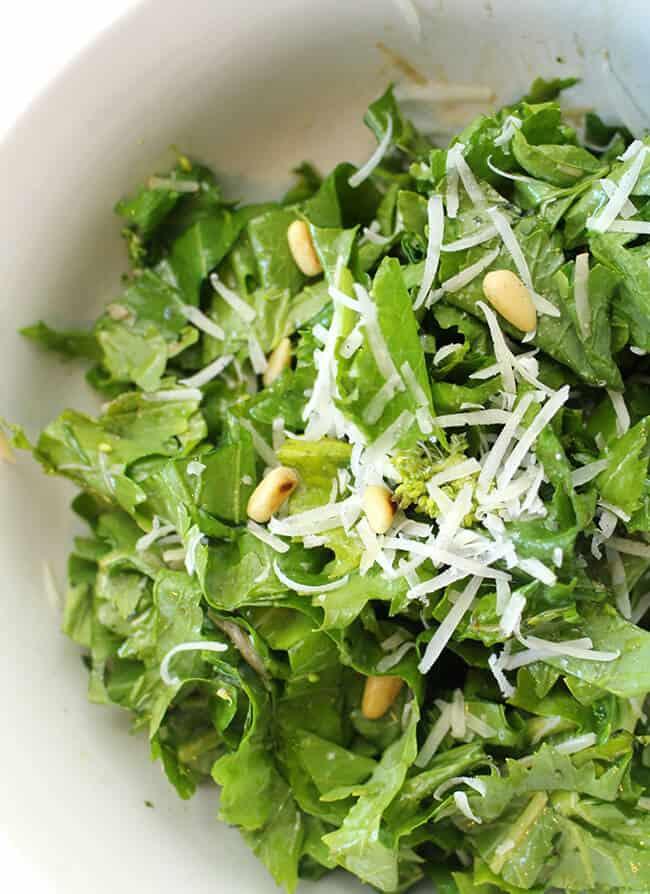 Rapini Parmesan Pine Nut Salad