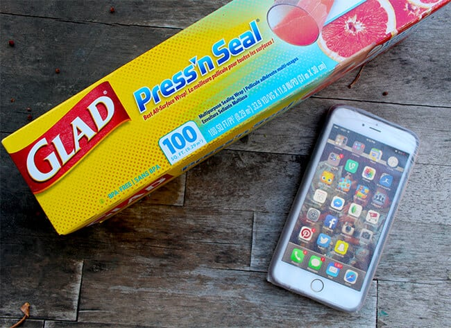 Make Your Phone Water Resistant with Glad Press'n Seal