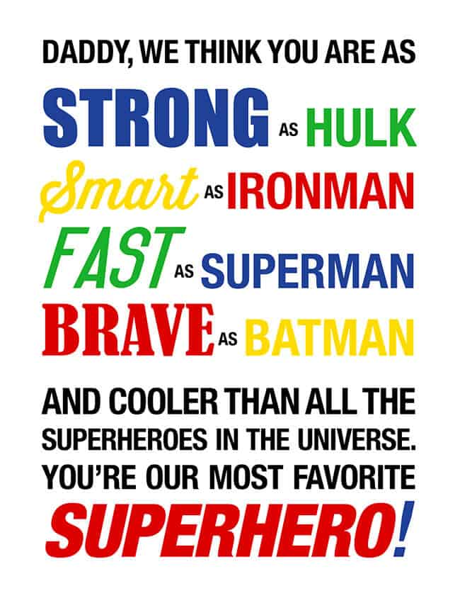 Superhero Fathers Day Card Printable