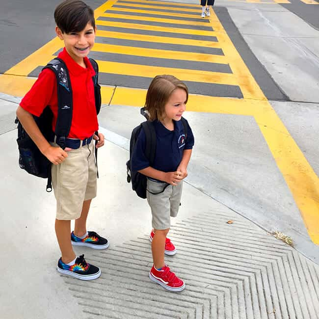 Kyle and Vann Walking to School