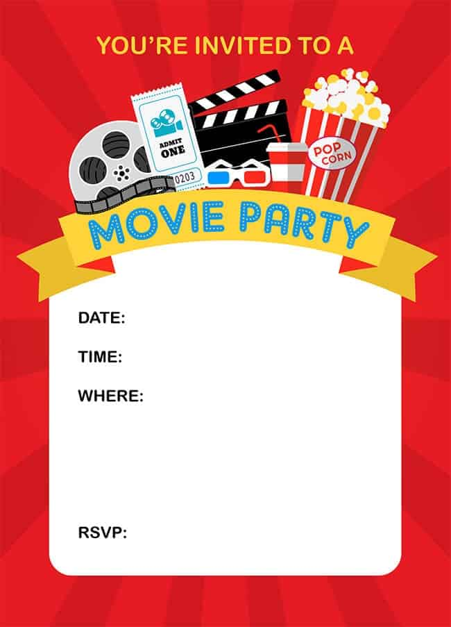 Movie Party Invitation - Popsicle Blog