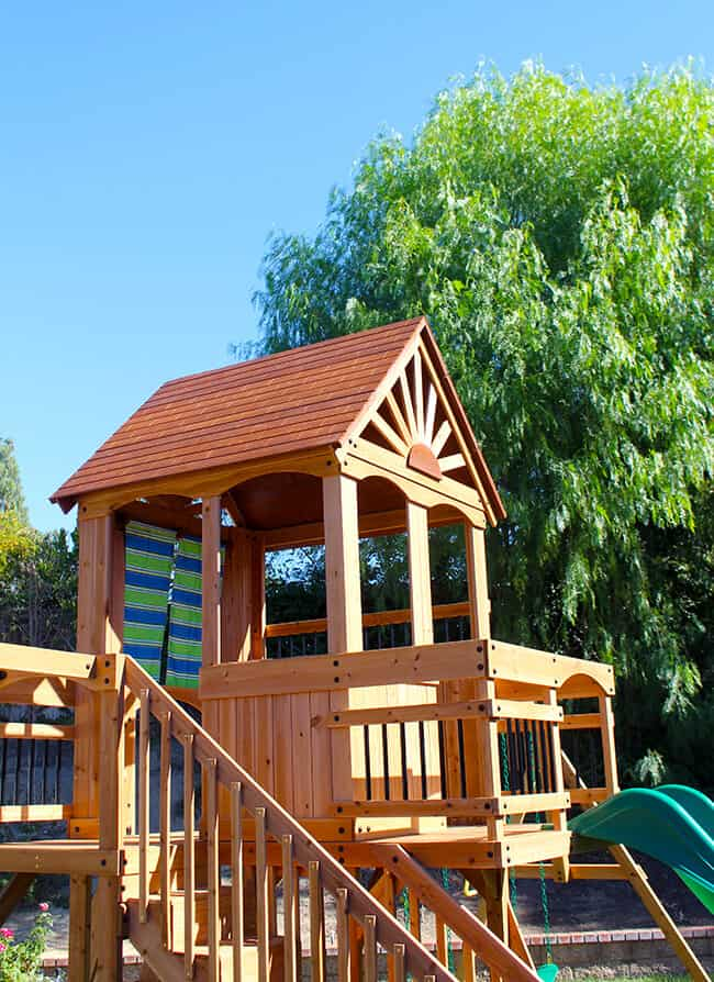 Getting Outside With Our Oceanview Wooden Swing Set And Giveaway