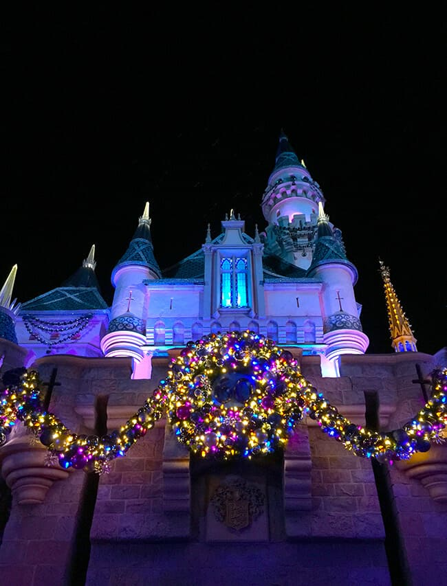 Disneyland Christmas Castle at Night