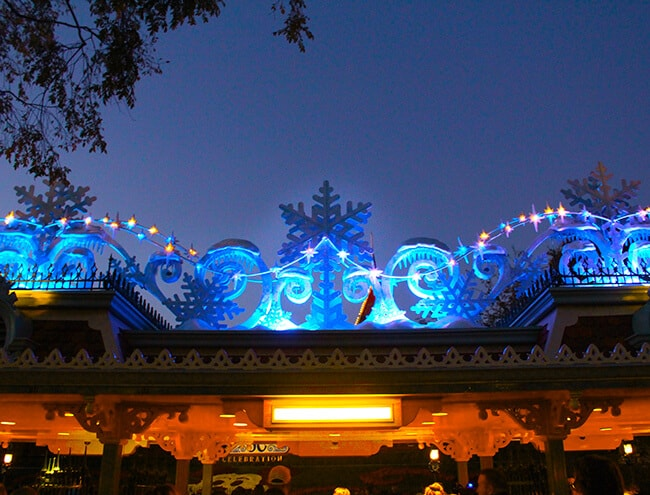 Disneyland Christmas Entrance at Night