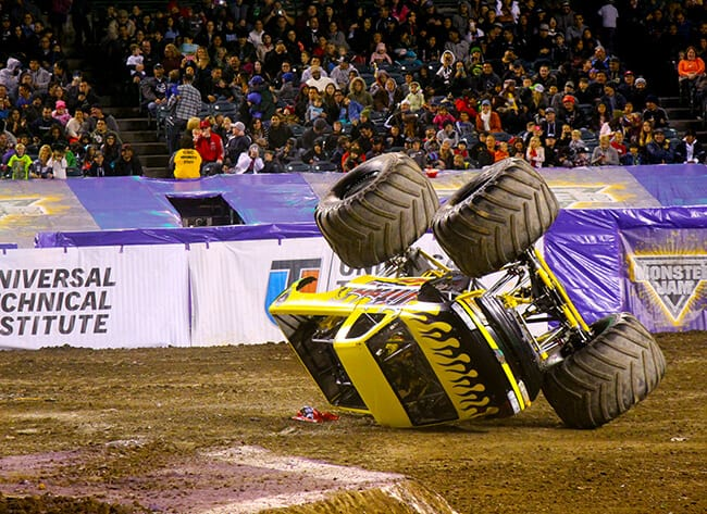 Truck upside down at Monster Jam