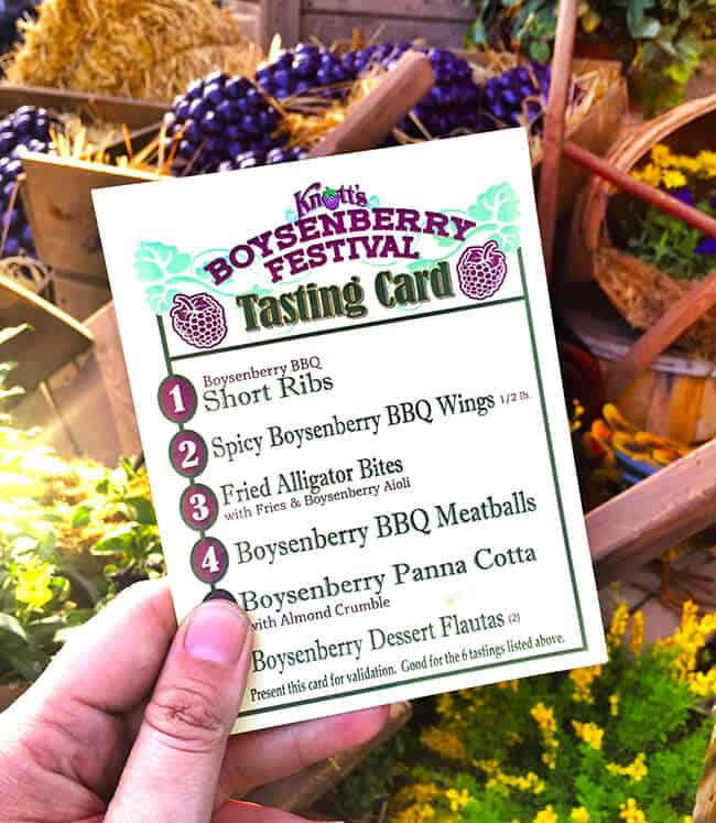 Boysenberry Festival Tasting Card