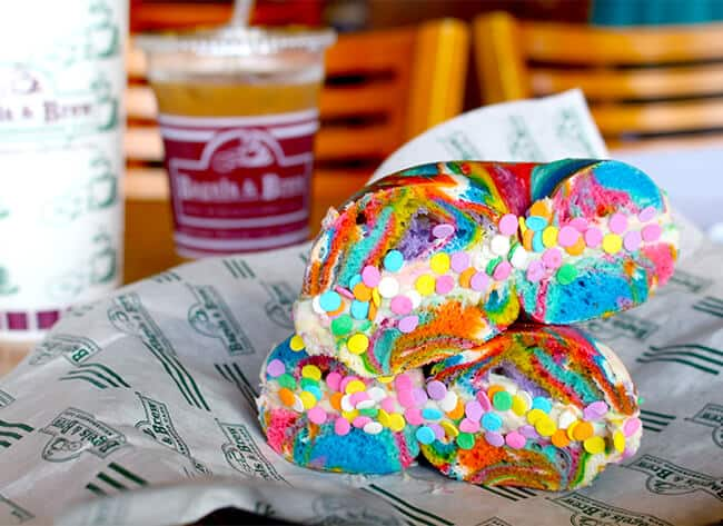 Birthday Cake Cream Cheese on a Rainbow Bagel copy