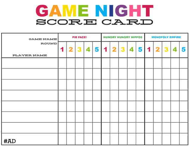 Game-Night-Score-Card