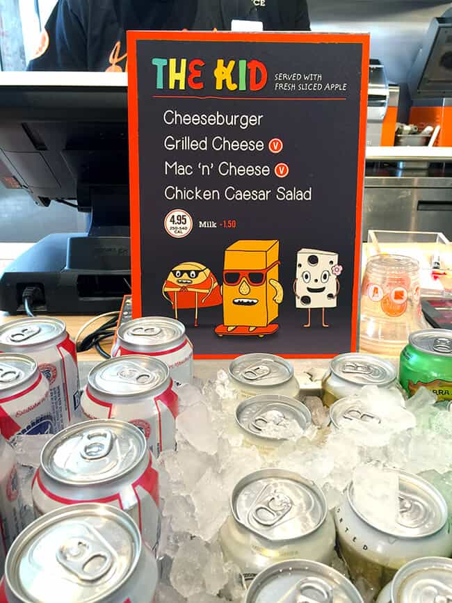 Kid Menu Options at The Melt in Mission Viejo