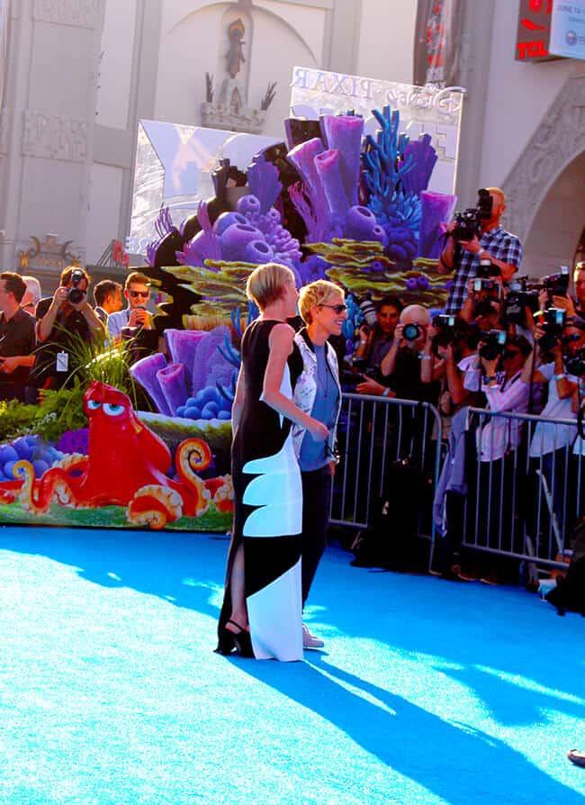 Ellen Degeneres and Portia De Rossi at the Finding Dory Premiere