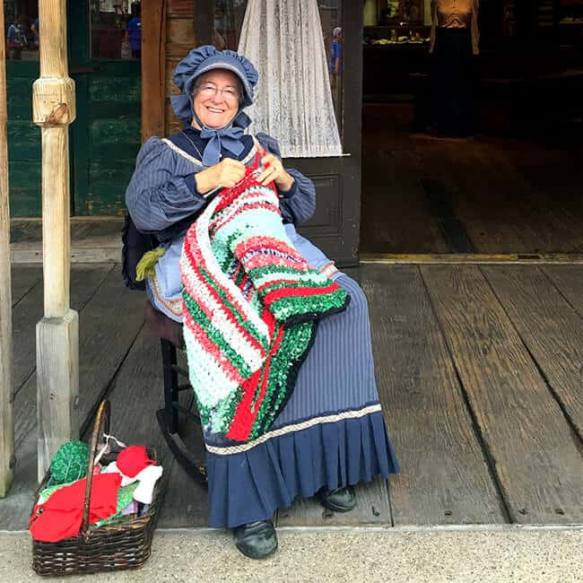 Knitter at Knotts Ghost Town Alive