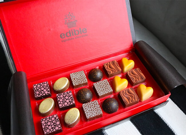 plus they also offer other yummy gifts like this edible arrangements signature chocolate box each chocolate features recipes designed by master