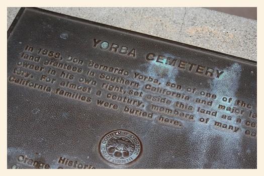 yorba cemetery plaque