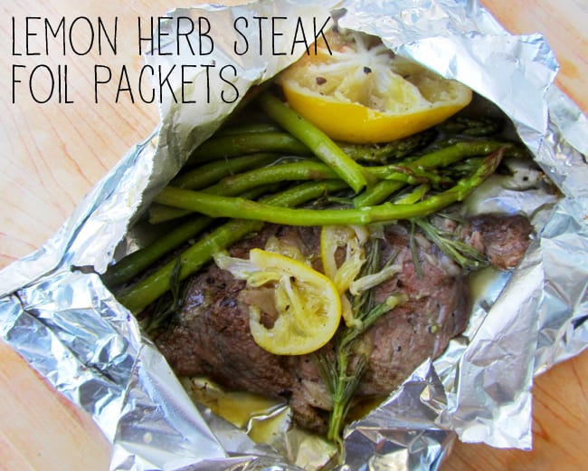 Lemon Herb Steak Foil Packets - perfect for camping!