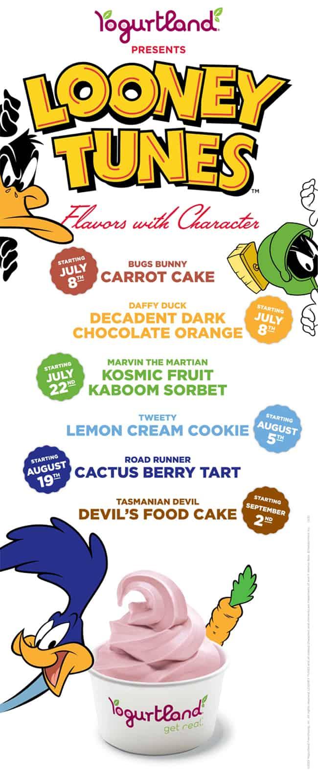 Looney Tunes Yogurtland Flavors