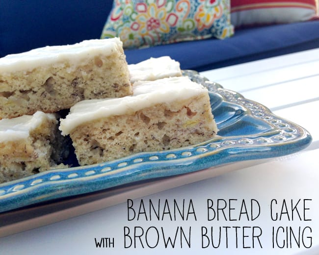 Easy Banana Cake with Brown Butter Icing. YUMMY! #recipe