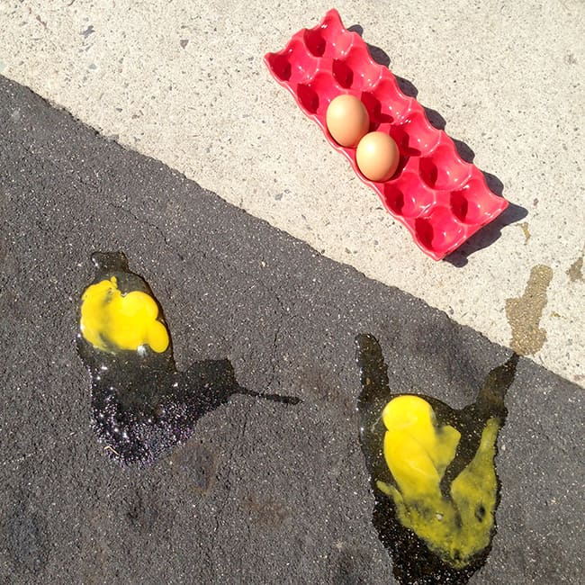 cooking an egg on the sidewalk fail