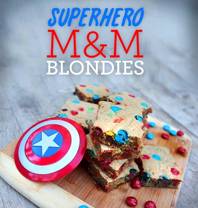 Superhero M&M's Blondies Recipe
