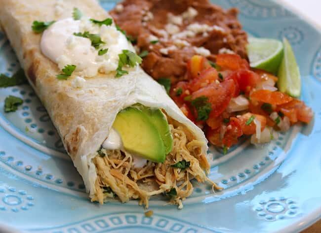 Best Crockpot Chicken Verde Burritos with Cilantro
