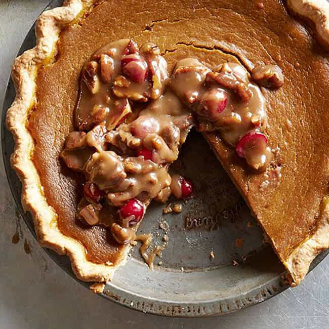 Pumpkin Pie with Praline Topping