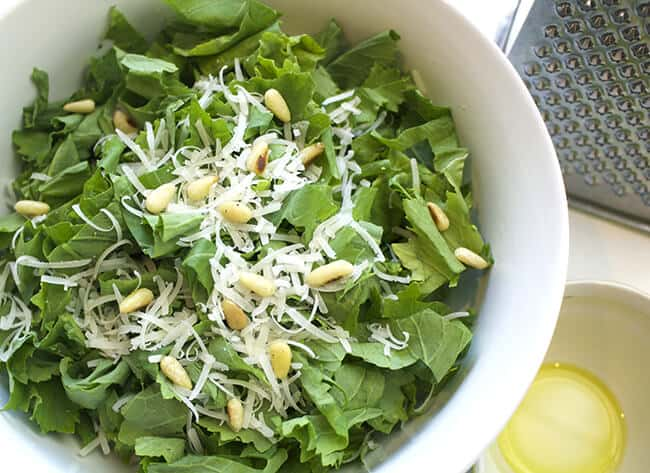 How to Make Rapini Parmesan Pine Nut Salad