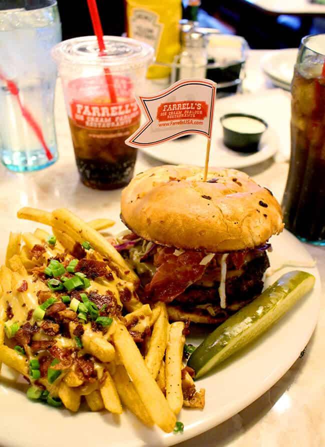 Farrell's Restaurant Corned Beef Burger and Irish Nachos