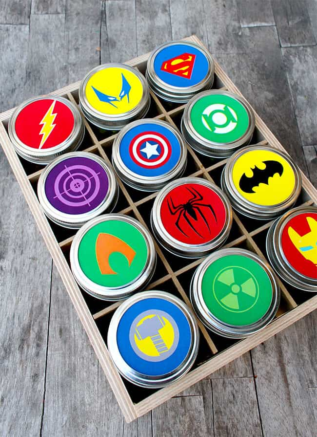 Free Printable Superhero Mason Jar Toppers