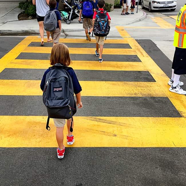 Walking on the crosswalk to school