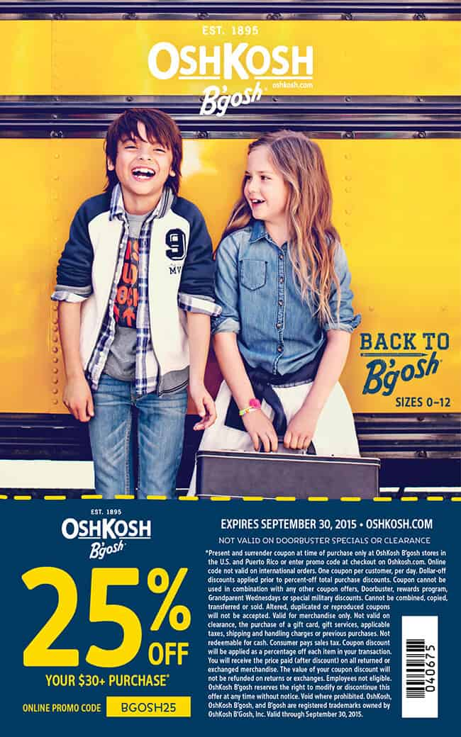 Oshkosh B'Gosh Clothing Coupon 2015
