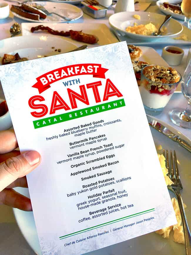 Breakfast with Santa Menu at Catal Restaurant