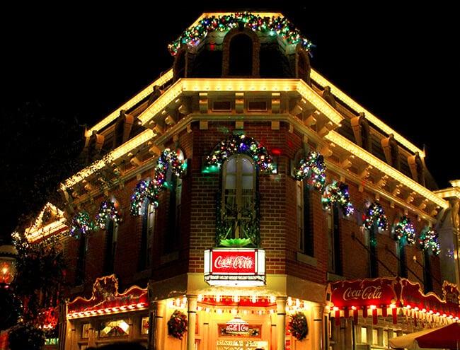Disneyland Christmas Main Street at Night