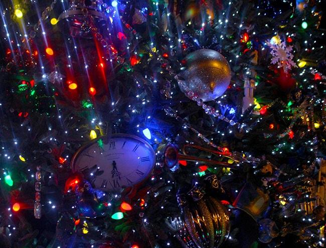 Disneyland Christmas Tree Ornaments at Night