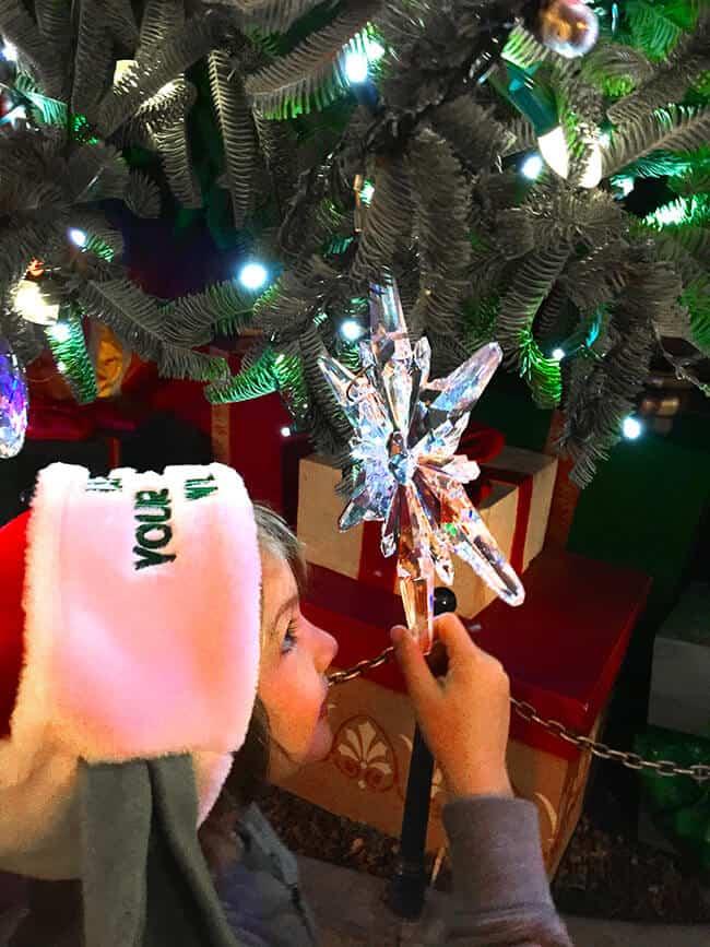 Disneyland Christmas Tree Snowflake at Night