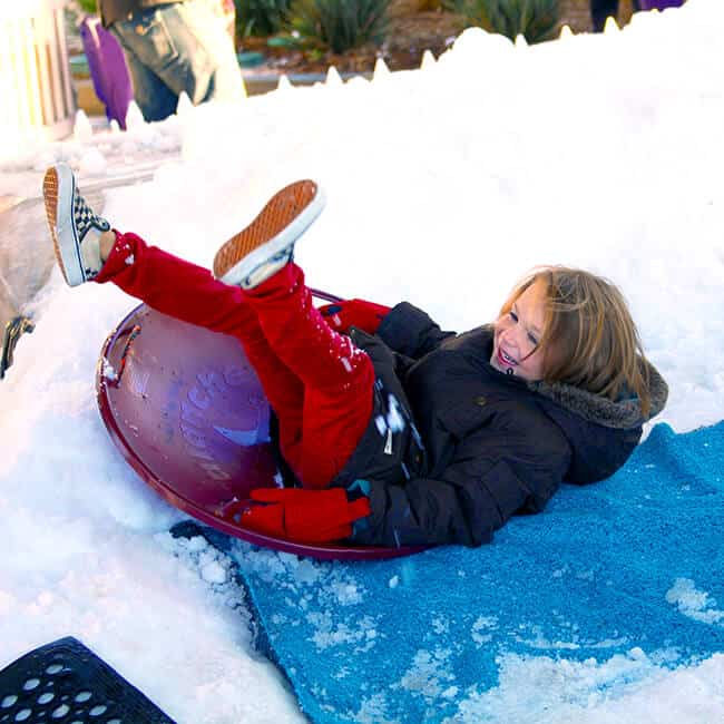 Snow Sledding at Discovery Science Center