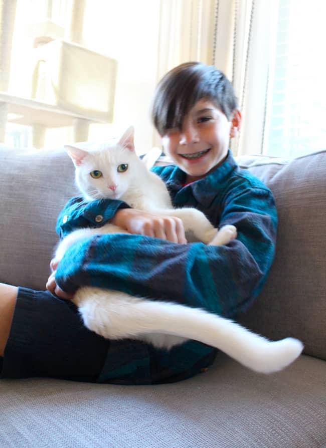 Hugging a cat