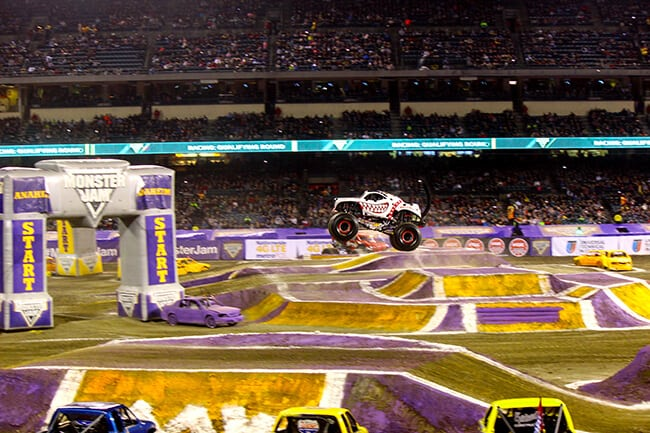 Racing at Monster Jam