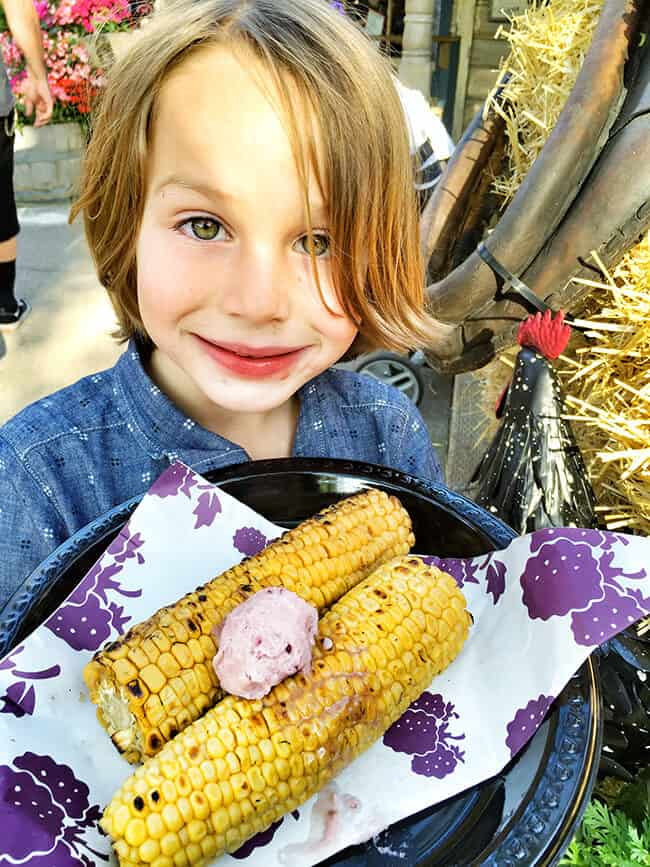 Barbecued Corn with Boysenberry Butter at Knott's