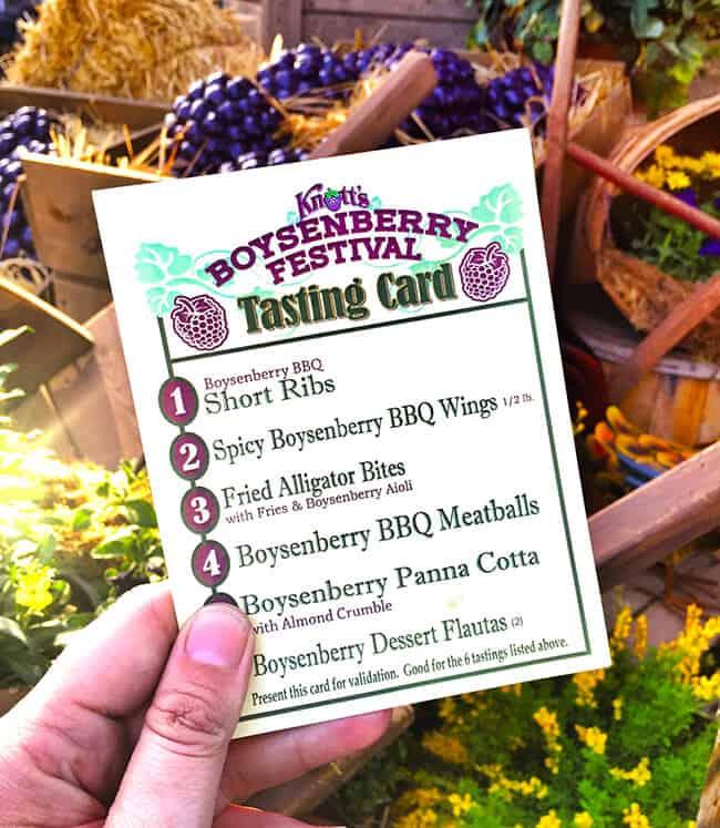 Boysenberry Festival Tasting Card