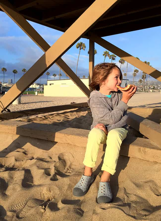 Eating Pizza at Balboa State Beach