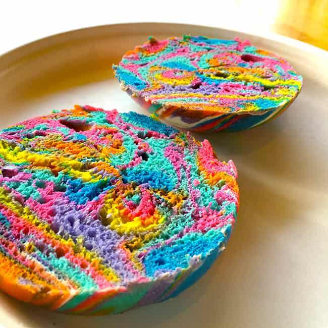 The inside of a Unicorn Rainbow Bagel