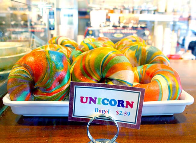 Unicorn Rainbow Bagels at Bagels and Brew